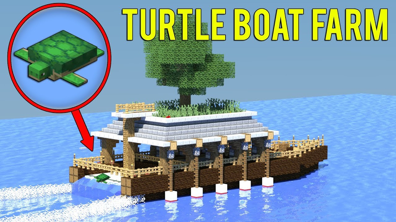 8.83 Minecraft: How to build a TURTLE FARM - Survival Boat House Tutorial