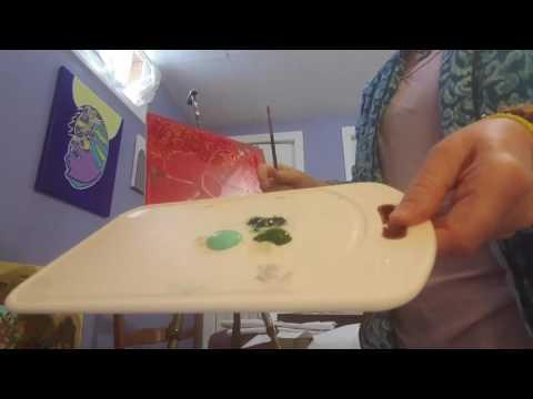 Painting Tips Green Healing Heart Mountain  acrylics and mixed media