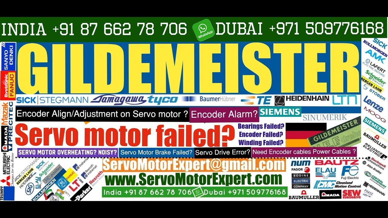 GILDEMEISTER CNC Repair pack servo motor chatter,servo drive error codes,  encoder direction Dubai