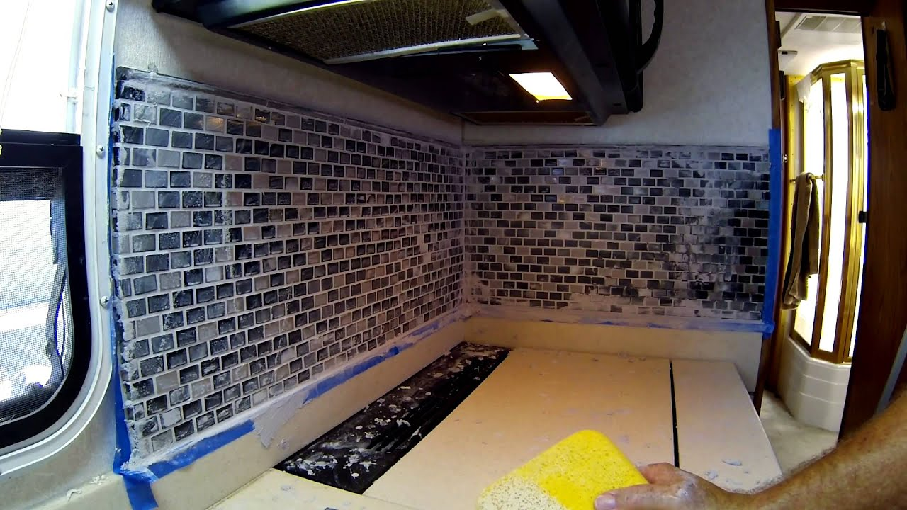 Rv Backsplash Improvement Replacement With Tile Youtube