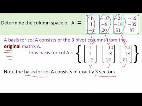 a quick example calculating the column space and the