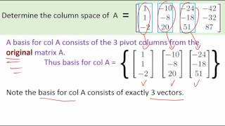 A quick example caĮculating the column space and the nullspace of a matrix.