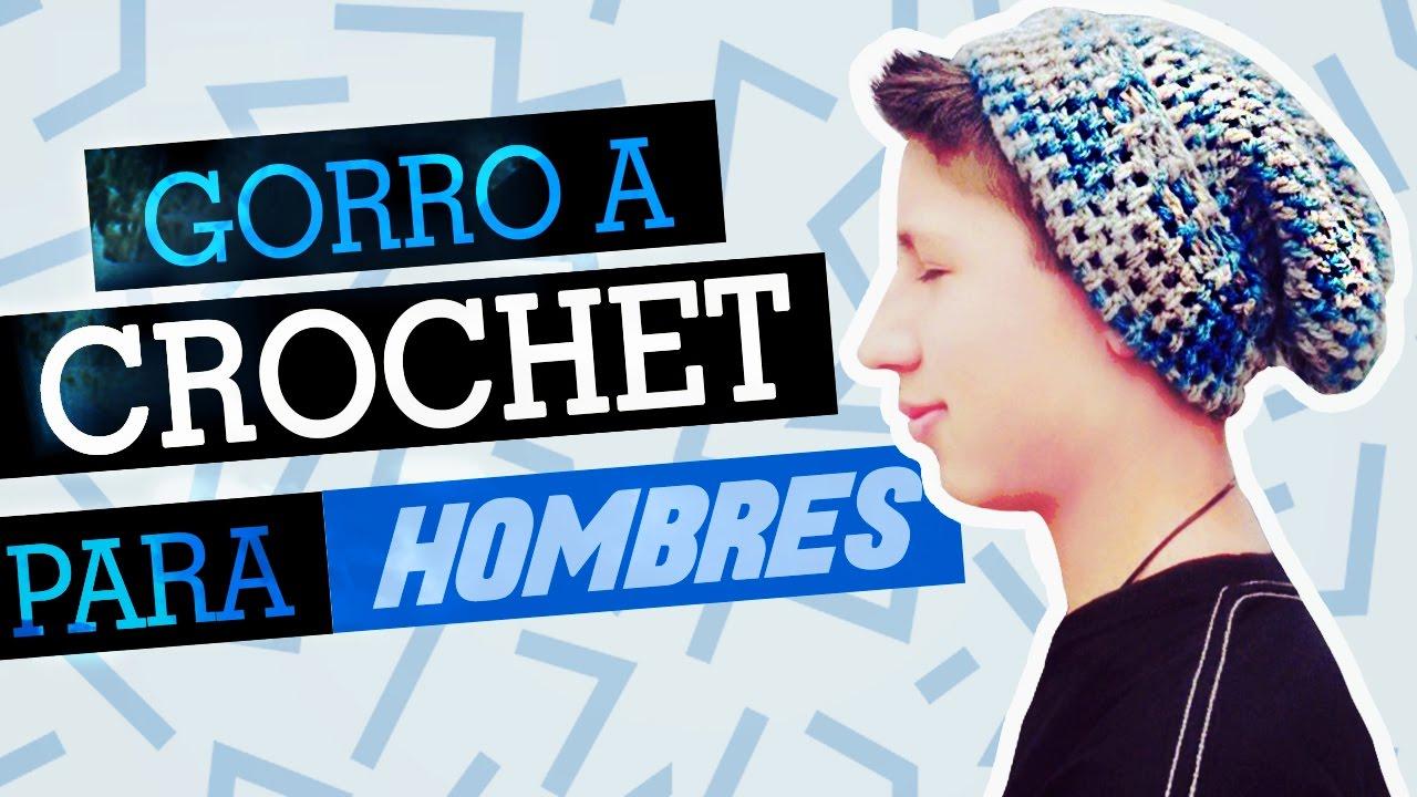 GORRO CAIDO A CROCHET PARA HOMBRES // Crochet BEANIE hat for men ...