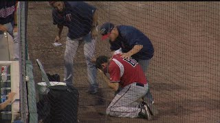 Miracle bat boy hit in face by foul ball