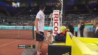 🎾Andy Roddick best tennis racket smash off all time, checks for warning, then smashes it again.