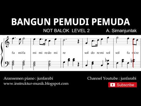 not bangun pemudi pemuda - notasi balok level 2 - lagu nasional  - do re mi / sol mi sa si