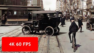 [4k, 60 fps] San Francisco, a Trip down Market Street, April 14, 1906