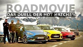 Suzuki Swift Sport vs Ford Fiesta ST vs Mazda MX-5 | Zwei Hot-Hatches und ein Frauenauto | Roadmovie