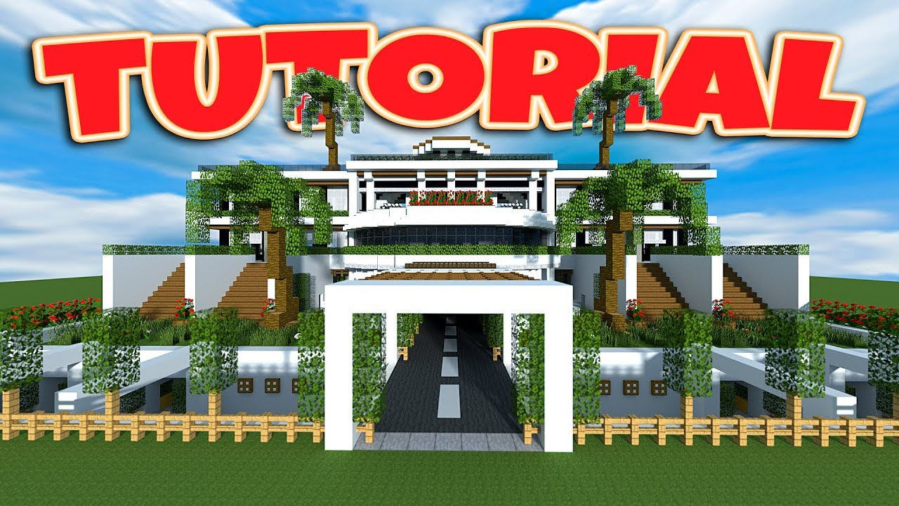 Minecraft how to build a large modern house tutorial minecraft modern mansion 2018