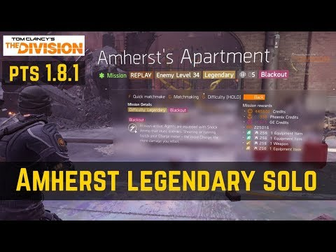 The Division Amherst's Apartment Legendary Solo (PTS 1.8.1)!
