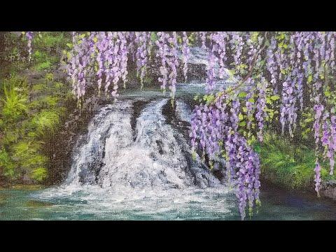 wisteria waterfall landscape acrylic