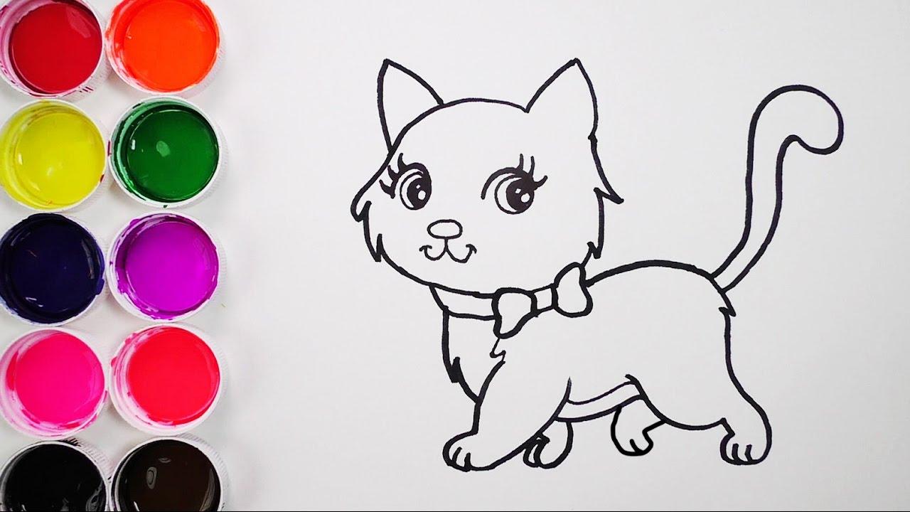Como Dibujar Y Colorear Un Gato De Arco Iris Dibujos Para Ninos