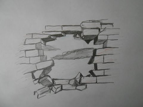 How To Draw A Broken Brick Wall Step By Step Easy Way Youtube