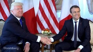 From youtube.com: Macron-Trump Handshake {MID-142375}