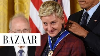 ellen degeneres tears up as she receives the presidential medal of freedom