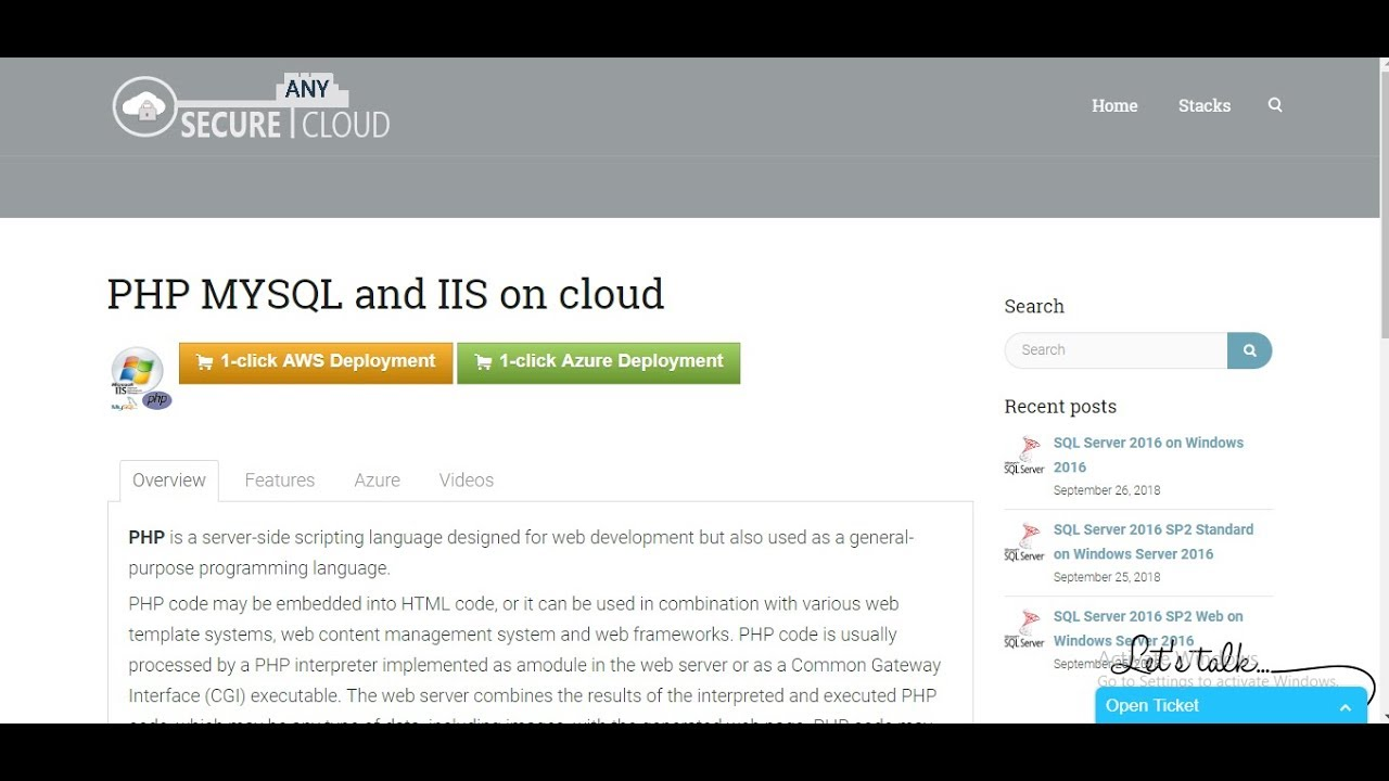 PHP MYSQL and IIS on cloud   Secure Any Cloud