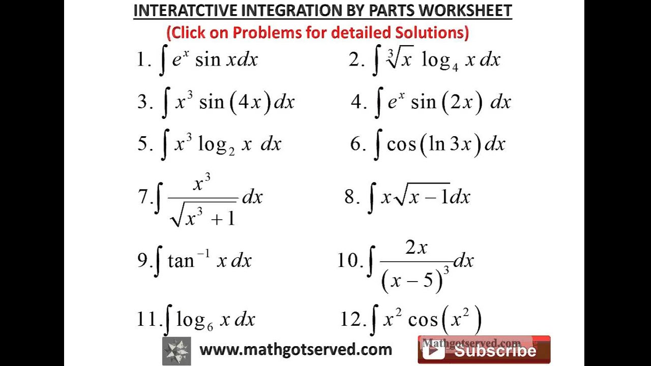 Worksheets Integration By Substitution Worksheet integration by parts interactive worksheet youtube worksheet