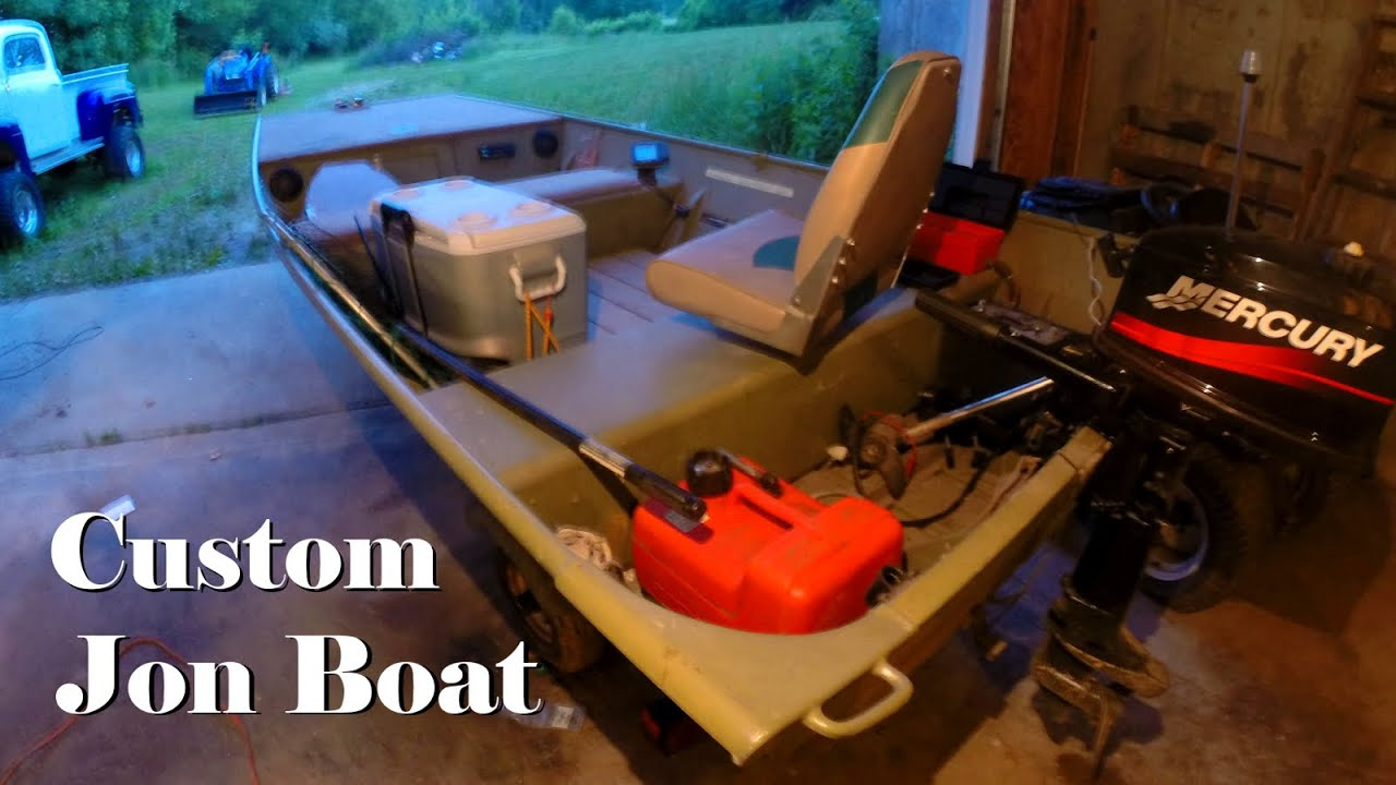 Customized 14 Foot Jon Boat Trex Wood Floor Mercury Outboard - YouTube