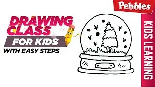 How to Draw a Christmas Snow Globe  | Easy Step by step drawings for beginners | Learn drawing easy