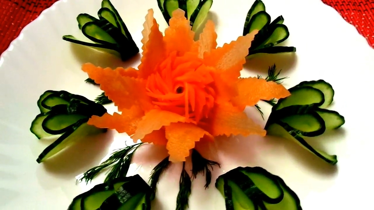 Fruits and vegetables carving designs - How To Make Carrot Flower Cucumber Design Vegetable Carving Art In Carrot Cucumber Garnish Youtube