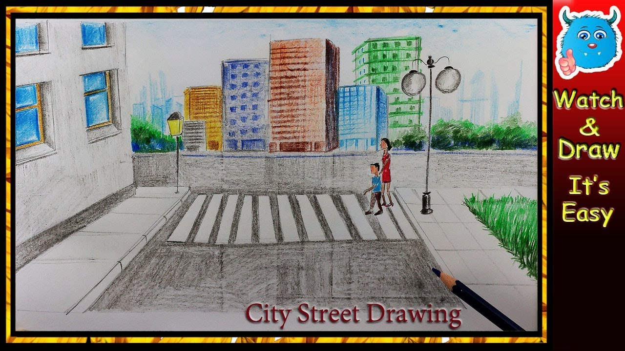 How to Draw City Scene (Easy Road Safety Drawing Tutorials) - YouTube