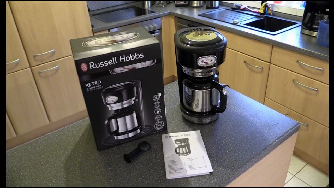 russell hobbs 21711 56 retro classic noir thermo kaffeemaschine youtube. Black Bedroom Furniture Sets. Home Design Ideas