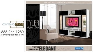 Tyler Wall Unit W Clear Glass Doors, Interior Backlight | Item #: 2651