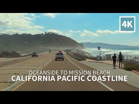 [Full Version] Driving California Pacific Coastline from Oceanside to Mission Beach, San Diego, 4K