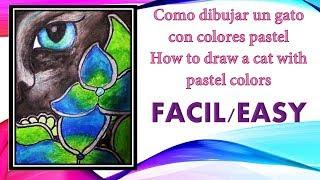 Como dibujar un gato con colores pastel HERMOSO/  How to draw a cat with pastel colors BEAUTIFUL