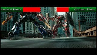 Optimus Prime vs Sentinel Prime with health bars (Transformers 3)