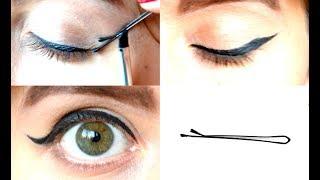 КАК НАРИСОВАТЬ СТРЕЛКИ НЕВИДИМКОЙ за 2 МИНУТЫ - Супер ТРЮК в действии - Bobby pin eyeliner hack