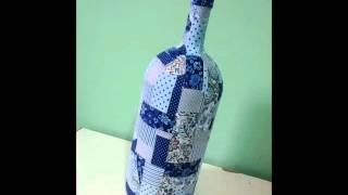 Como fazer garrafa decorada com tecido
