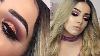Rose Gold Glitter Cut Crease Eyeshadow Tutorial