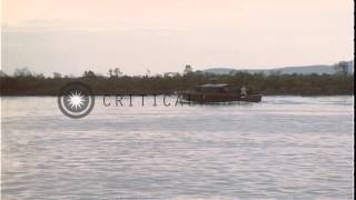 Machine guns aboard Patrol Craft Fast fired, and Patrol River Boat in Vietnam. HD Stock Footage