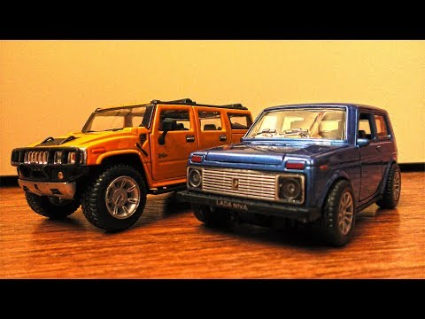Toy Cars Video Review   Lada Niva and Hummer