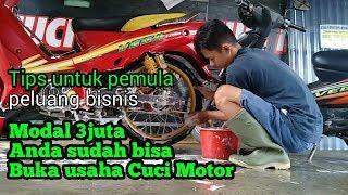 BUKA USAHA CUCI MOTOR MODAL 3JUTA & Tips usaha cuci motor untuk pemula.