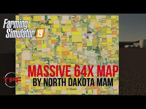 LIVE!! Farm Sim 19!! 64x MASSIVE!! Testing Map!!! Let's Go!! North Dakota Wahpeton 16km Map