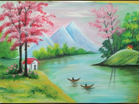 How to make beautiful scenery painting -nature painting - YouTube