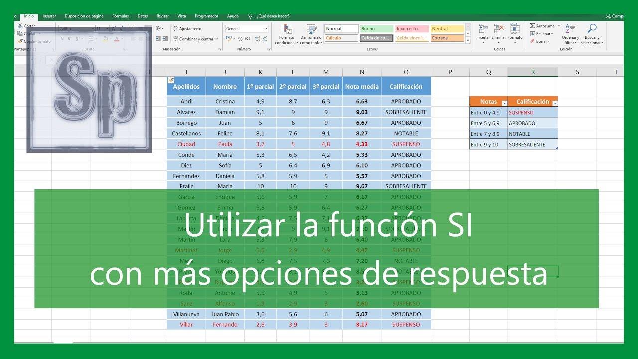 Funcion Si Y O Anidadas En Excel   Servirse Solfa Syllable Función ...