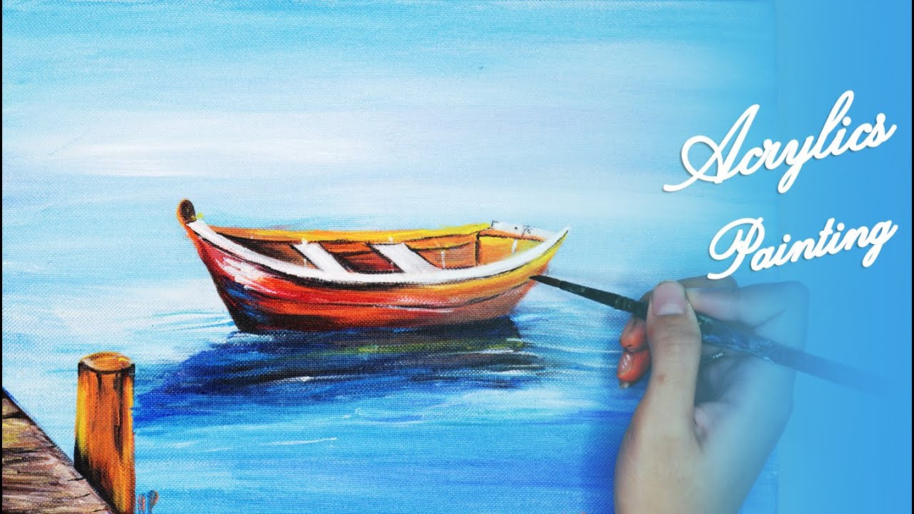 Acrylics Painting #115 Step by Step Draw Lonely Boat Acrylic Painting For Beginners