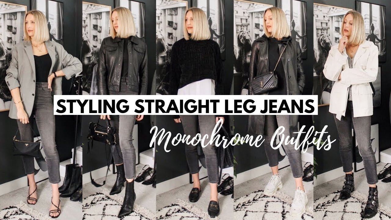 [VIDEO] - STRAIGHT LEG JEANS | How To Style 5 Monochrome Denim Outfits For Autumn/Fall 8