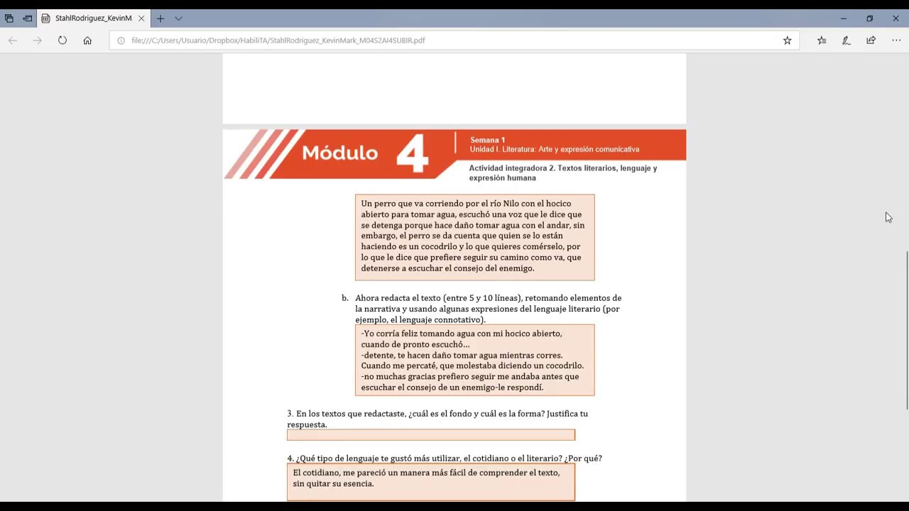 Actividad Integradora 2 Textos Literarios Lenguaje Y Expresion Humana Youtube