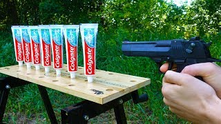 EXPERIMENT: GUN VS TOOTHPASTE