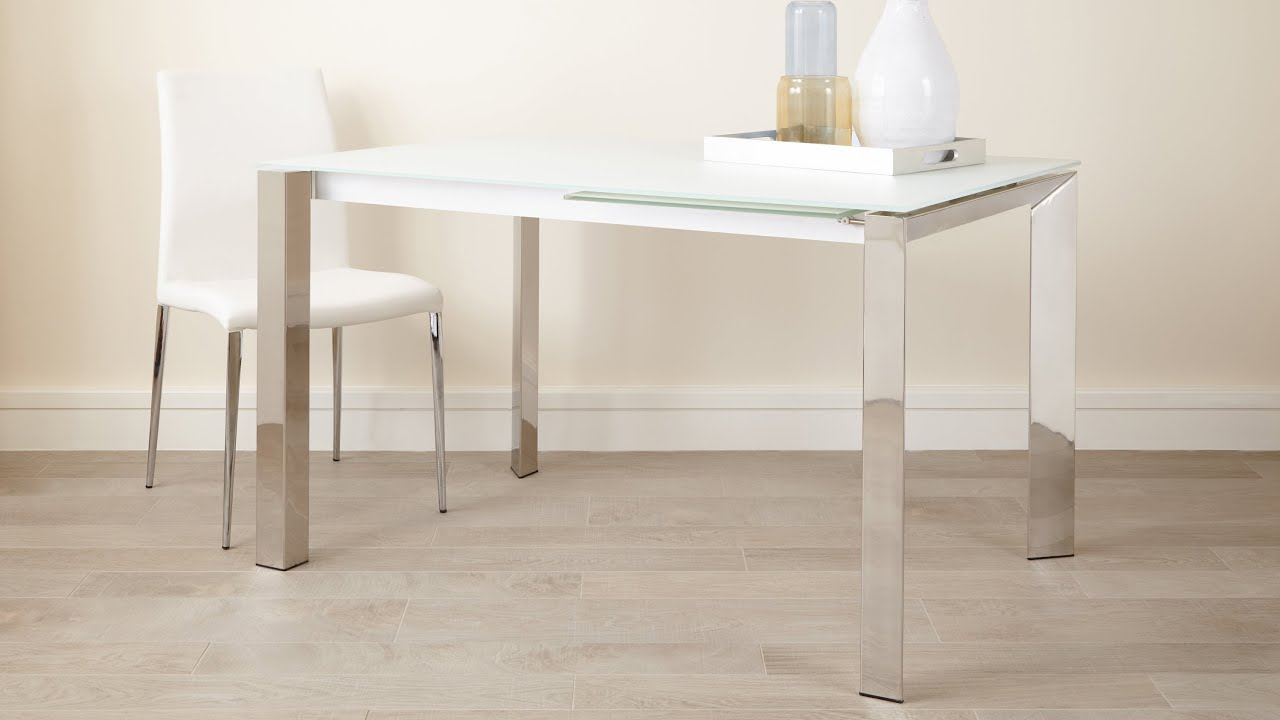 White Frosted Glass Extending Dining Table with Chrome