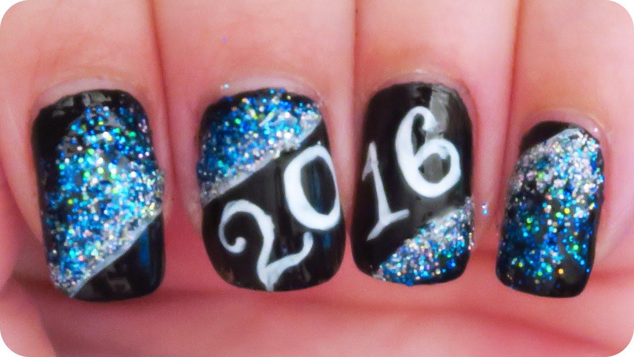 happy year 2016 nail art tutorial