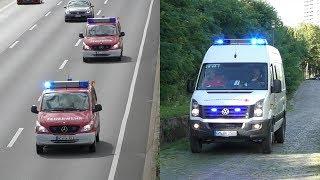 Verkeilte Gondel der Kölner Seilbahn | Einsatzfahrten DRK Höhenrettung + Feuerwehr