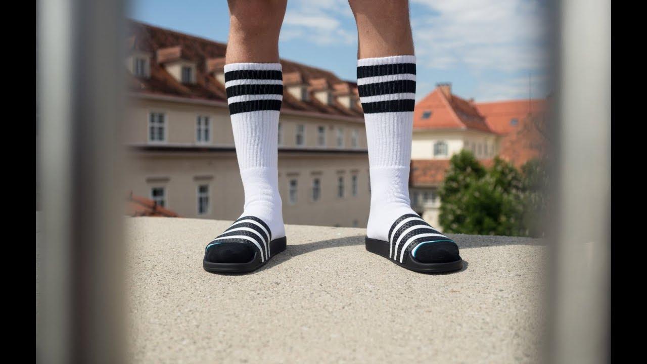 4beb736340d6d5 Adidas Originals Adiletten and Stance Boneless Socks - YouTube