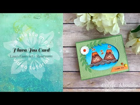 I Lava You card - with Lawn Fawn Rawrsome set
