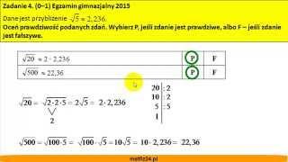 Zadanie z pierwiastkiem - Egzamin gimnazjalny z matematyki 2015 - zad 4 - MatFiz24.pl