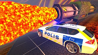 BeamNG.drive - Cars Jumping through Lava (Giant Lava Rocket Launcher)